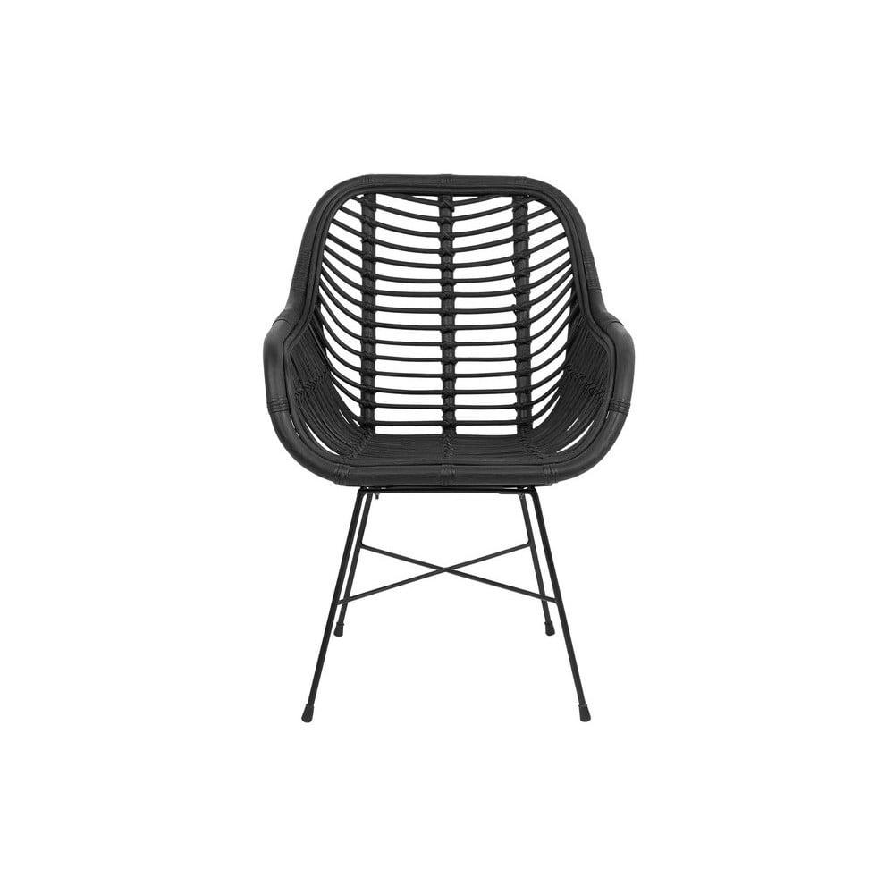 Černá ratanová židle Monobeli Laila