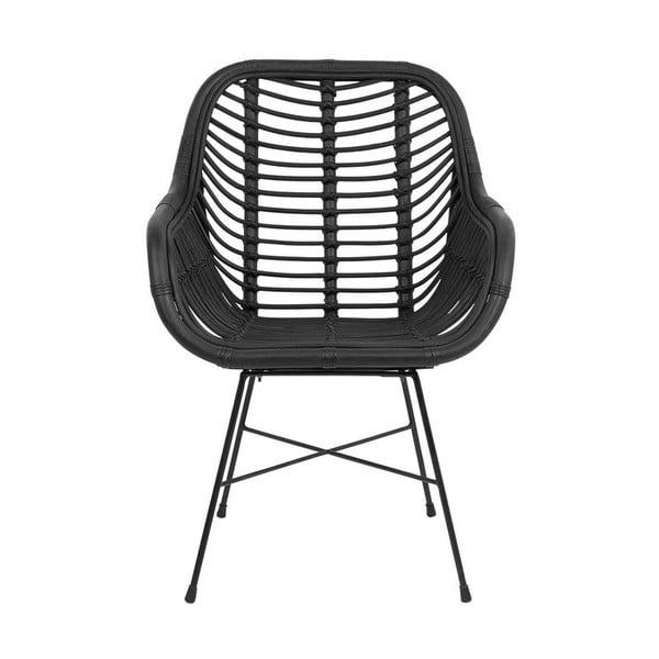 Czarny fotel rattanowy Monobeli Laila