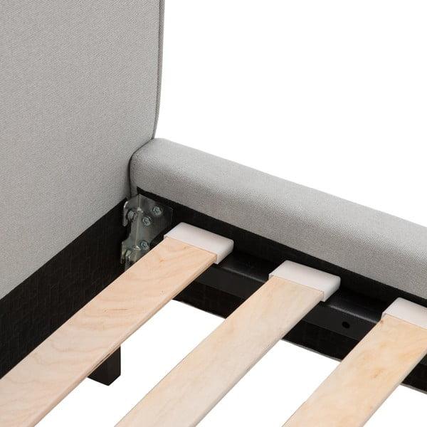 Šedá postel s tmavě šedými knoflíky a černými nohami Vivonita Kent,180x200cm