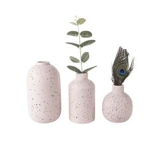 Sada 3 růžových keramických váz PT LIVING Dotted