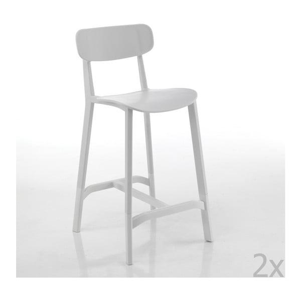 Sada 2 bielych barových stoličiek vhodných do exteriéru Tomasucci Mara