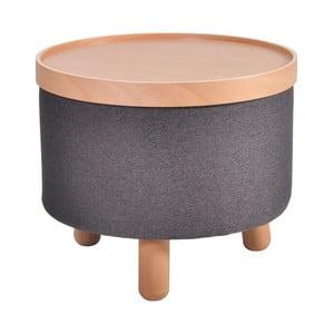Tmavě šedá stolička s detaily z bukového dřeva a odnímatelnou deskou Garageeight Molde, ⌀50cm