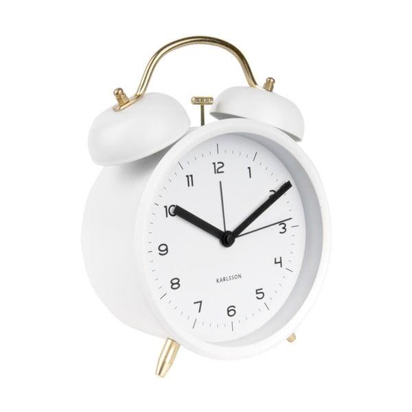 Ceas alarmă Karlsson Classic, alb, ⌀ 14 cm