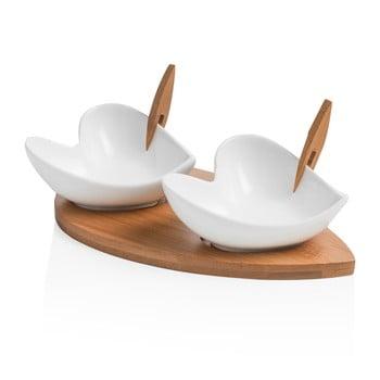 Set 2 boluri pentru servit cu tocător și 2 scobitori decorative Brandani Coeur Blanc de la Brandani
