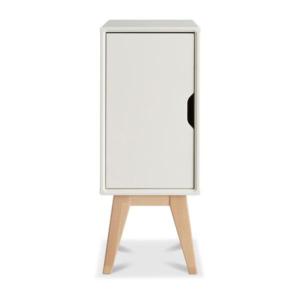 Biely ručne vyrobený nočný stolík z masívneho brezového dreva Kiteen Kolo