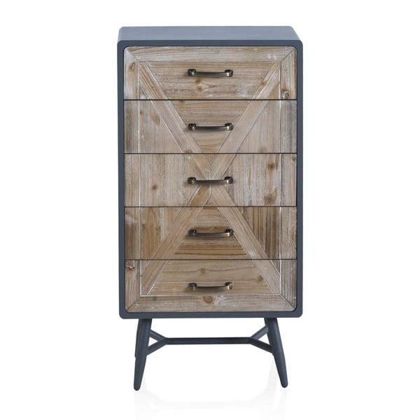 Comodă cu detalii gri și 5 sertare Geese Rustico Duro, 48 x 92 cm