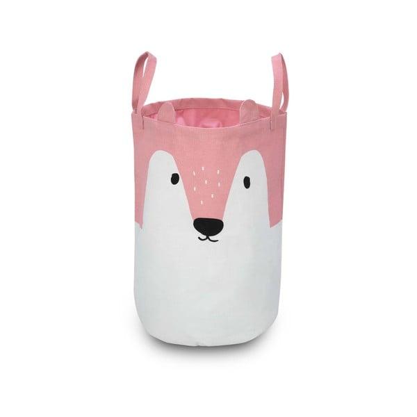 Růžovo-bílý úložný košík KICOTI Fox, ø 35cm