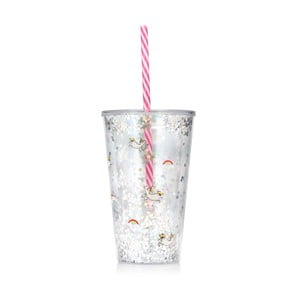 Plastová lahev s brčkem NPW Unicorn, 450ml