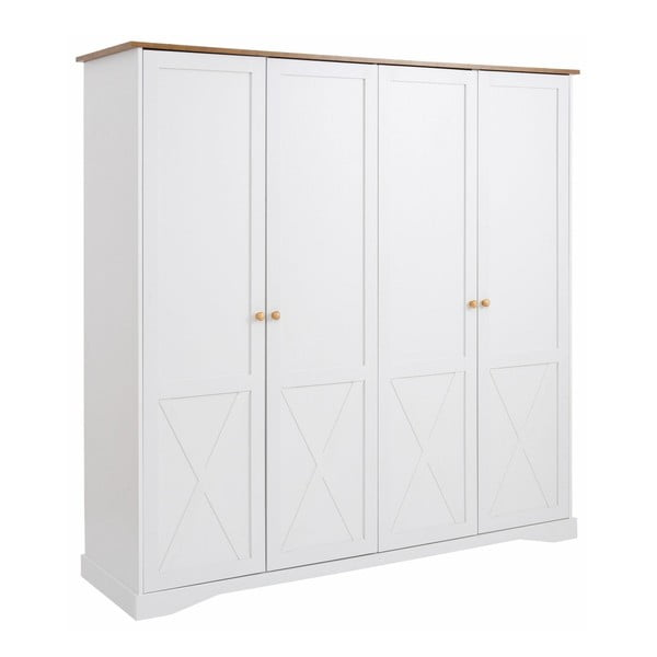 Bílá čtyřdveřová šatní skříň Støraa Aldo