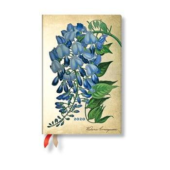 Agendă pentru anul 2020, cu copertă tare Paperblanks Blooming Wisteria, 160 file, multicolor de la Paperblanks