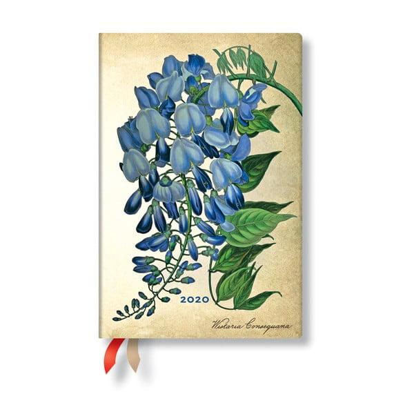 Vícebarevný diář na rok 2020 v tvrdé vazbě Paperblanks Blooming Wisteria, 160stran