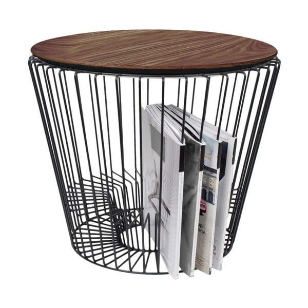 Fém kisasztal, diófa dekorral, Ø 50 cm - HARTÔ