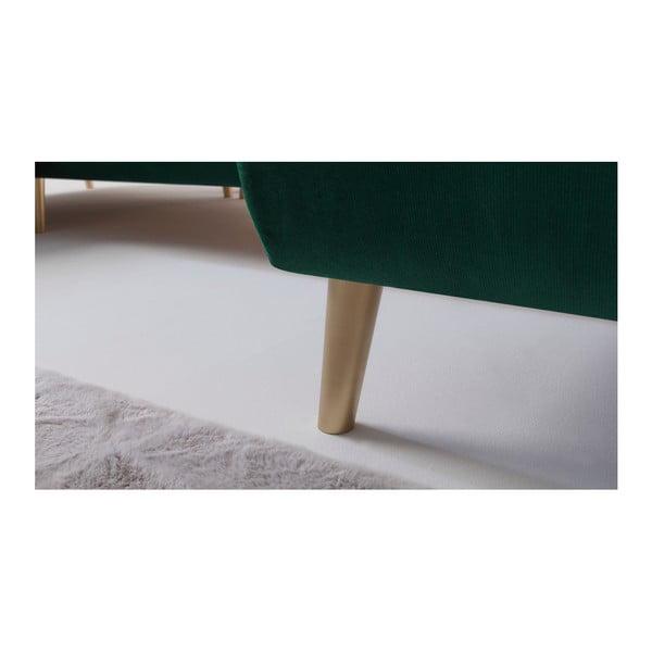 Zelená rozkládací čtyřmístná pohovka Bobochic Paris Hera, pravý roh