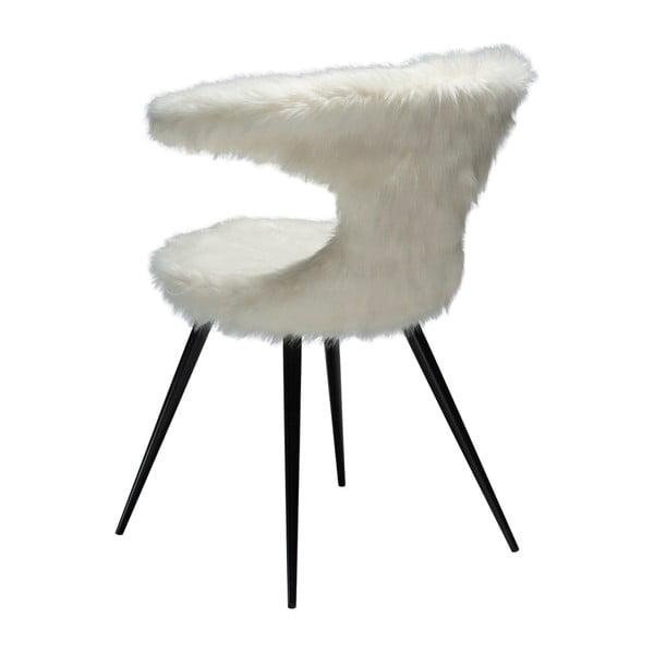 Bílá židle se sedákem z imitace ovčí kožešiny DAN-FORM Denmark Flair