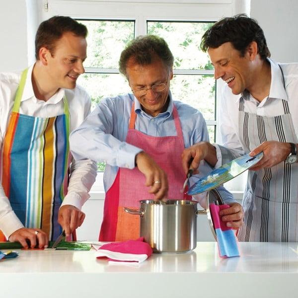 Kuchyňská zástěra, růžovo-modrá