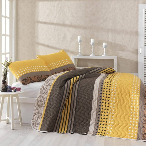 Miranda Yellow steppelt könnyű ágytakaró párnahuzattal, 200 x 220 cm