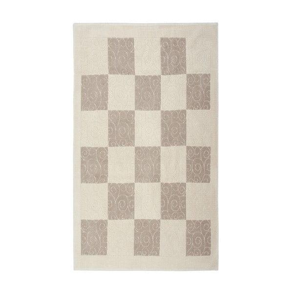 Krémový  bavlněný koberec Floorist Check, 160x230cm