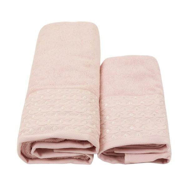 Set 2 fialových ručníků a županu z čisté bavlny Queen, vel. M/L