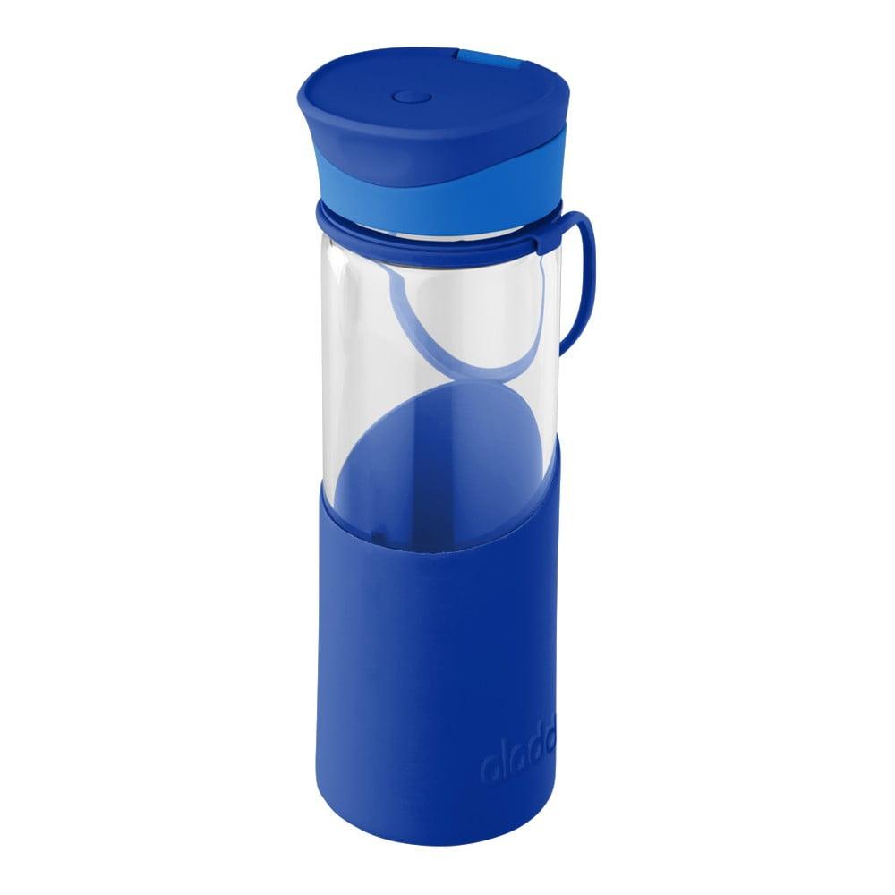 Modrá láhev na vodu se silikonovým pouzdrem Aladdin, 500 ml