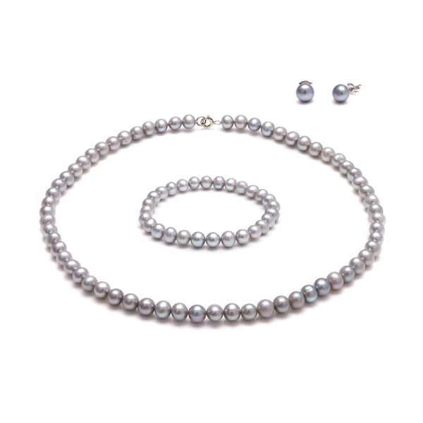 Set šedých perlových šperků GemSeller Coen