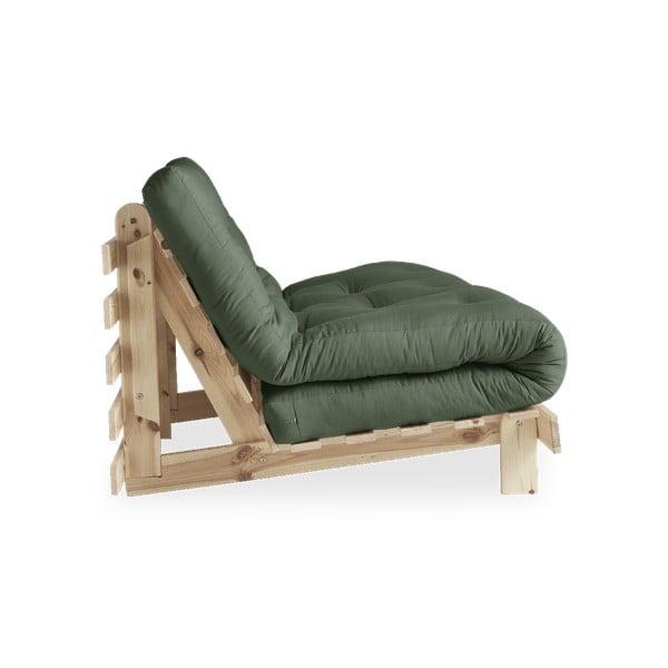 Rozkládací pohovka se zeleným potahem Karup Design Roots Raw/Olive Green