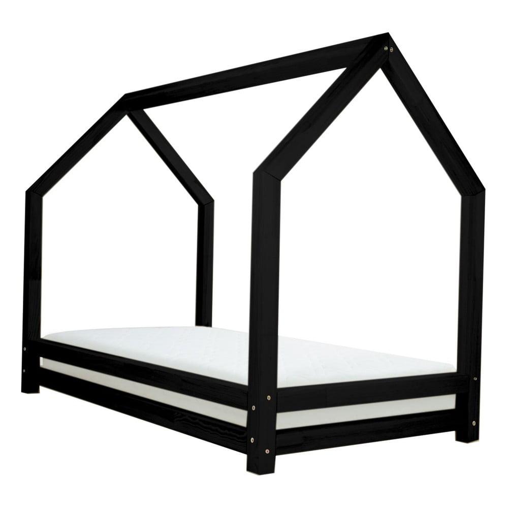 Černá jednolůžková postel z borovicového dřeva Benlemi Funny, 80 x 200 cm