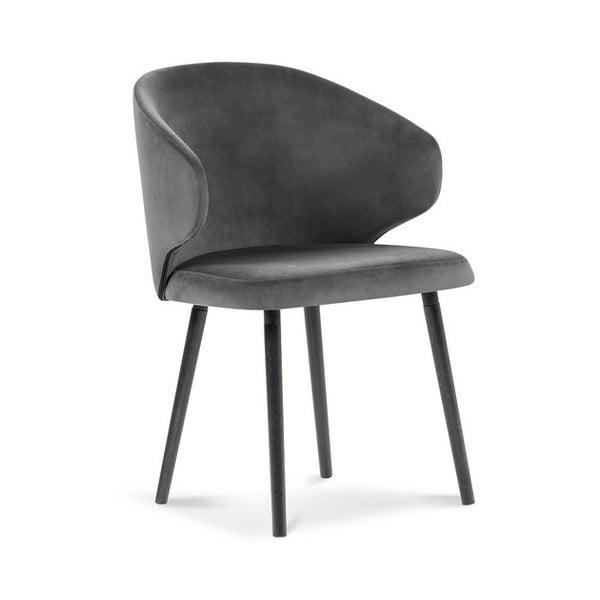 Tmave šedá jídelní židle se sametovým potahem Windsor & Co Sofas Nemesis