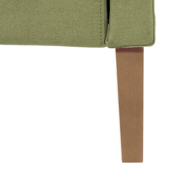 Zelená postel s přírodními nohami Vivonita Windsor,180x200cm