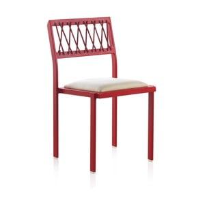 Červená zahradní židle s bílými detaily Geese Seally