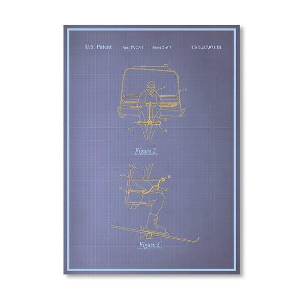 Plakát Ski Lift, 30x42 cm