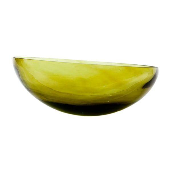 Skleněná mísa, olivová