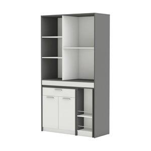 Šedo-bílá kuchyňská skříňka s výsuvnou pracovní deskou Urban