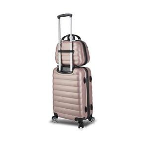 Sada růžového cestovního kufru na kolečkách s USB portem a příručního kufříku My Valice RESSNO MU & Cabin