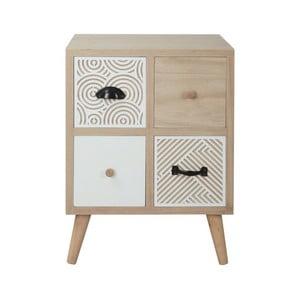 Dřevěný noční stolek s 4 zásuvkami Sirio