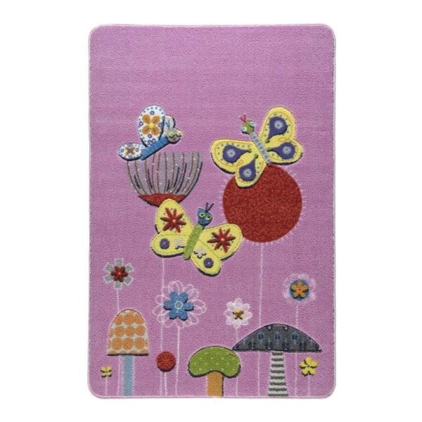Dětský růžový koberec Confetti Butterfly Effect,100x150cm