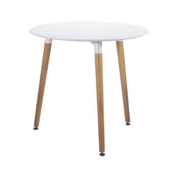 Masă dining Leitmotiv Elementary, ø 80cm, alb-natural