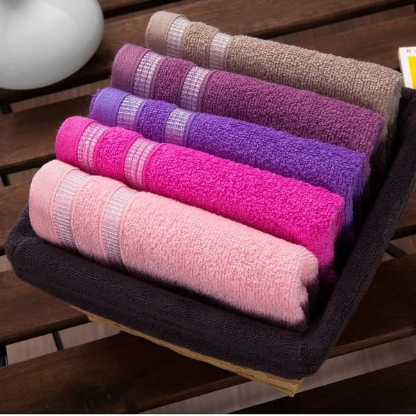 Sada 5 ručníků Smoky Basket, 30x50 cm