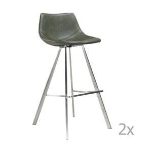 Set 2 scaune bar cu bază din oțel DAN-FORM Pitch, verde