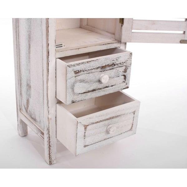 Bílá dřevěná úzká komoda Mendler Shabby