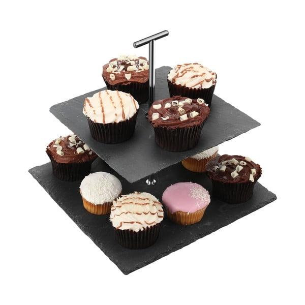 Dvoupatrový břidlicový hranatý stojan na dorty Premier Housewares Slate