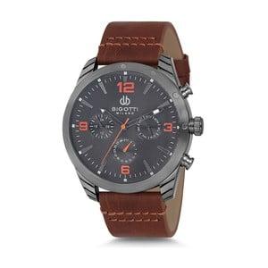 Pánské hodinky s hnědým koženým řemínkem Bigotti Milano Dandy