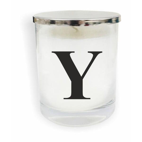 Bielo-čierna sviečka North Carolina Scandinavian Home Decors Monogram Glass Candle Y
