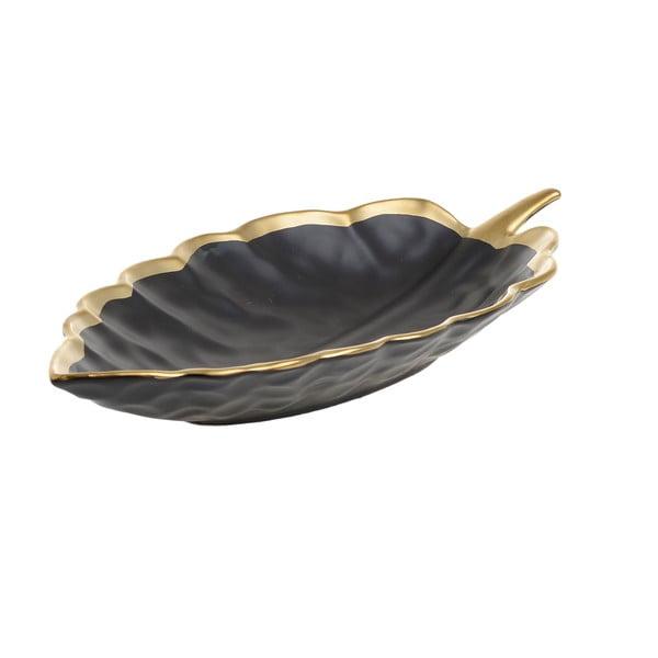Černá porcelánová servírovací miska InArt Leafy, 33x17,5cm