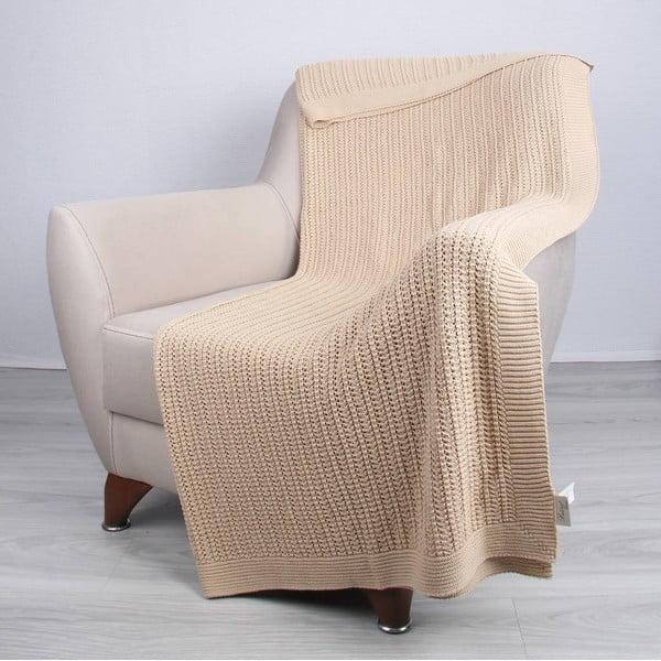 Světle béžová bavlněná deka Homemania Clen,170x130cm