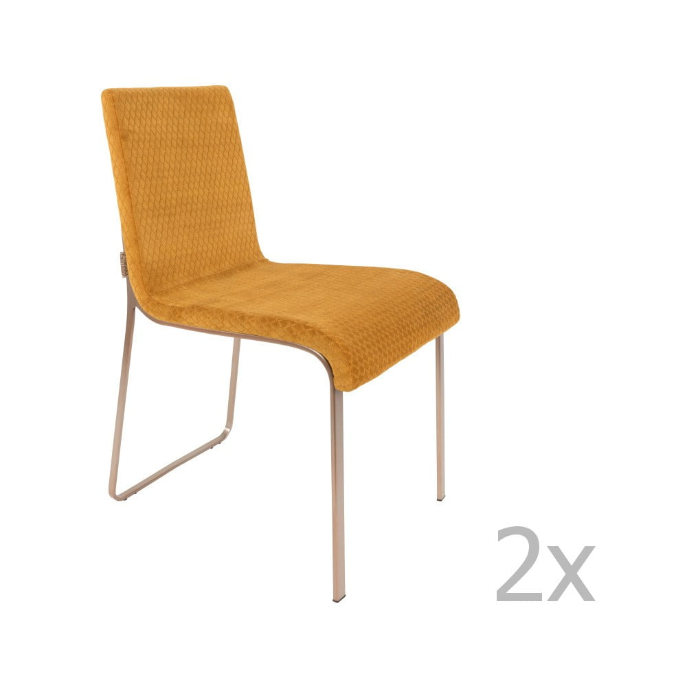 Sada 2 žlutých židlí Dutchbone Fiore