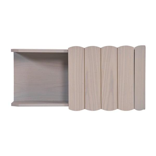 Světle šedá police na zeď z bukového dřeva HARTÔ, délka 74 cm