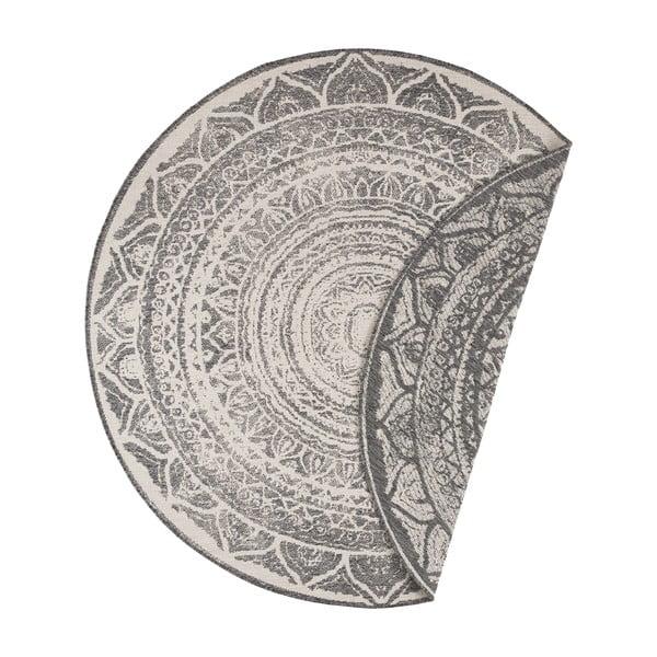 Šedo-krémový venkovní koberec Bougari Siruma, ø 140 cm