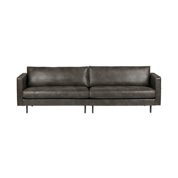 Canapea cu 3 locuri din piele reciclată BePureHome Rodeo, negru