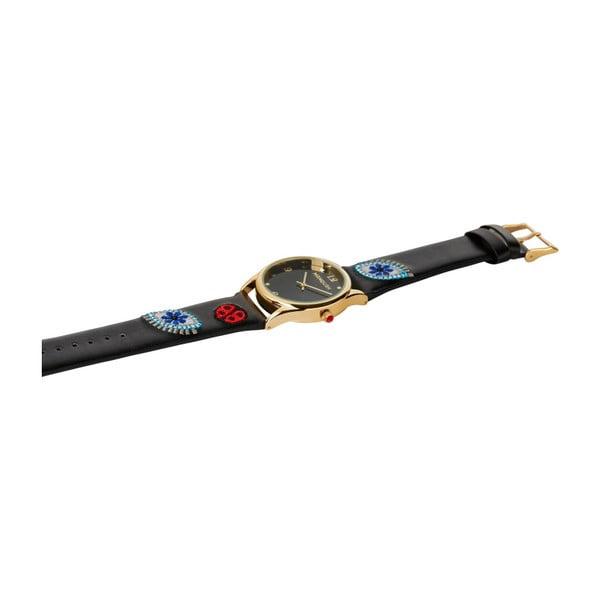 Dámské hodinky černé barvy s koženým páskem Manoush Ladybird
