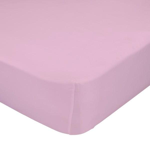 Světle růžové elastické prostěradlo HF Living Basic, 90x200cm